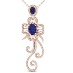 5.85 ctw Tanzanite & Micro Pave VS/SI Diamond Earrings 14k Rose Gold - REF-236R4K