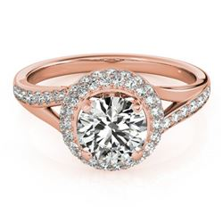 1.35 ctw Certified VS/SI Diamond Halo Ring 18k Rose Gold - REF-162A3N