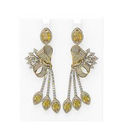 17.85 ctw Canary Citrine & Diamond Earrings 18K Yellow Gold - REF-693H8R