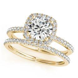 1.20 ctw Certified VS/SI Diamond 2pc Wedding Set Halo 14k Yellow Gold - REF-146F8M