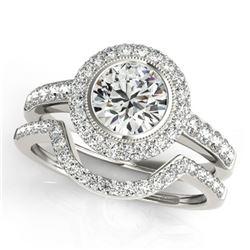 1.91 ctw Certified VS/SI Diamond 2pc Wedding Set Halo 14k White Gold - REF-310A6N