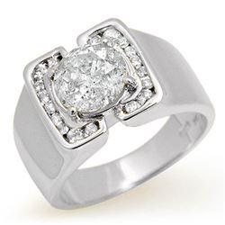 2.08 ctw Certified Diamond Men's Ring 10k White Gold - REF-510A2N