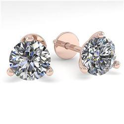 1.01 ctw Certified VS/SI Diamond Stud Earrings Martini 18k Rose Gold - REF-132K2Y
