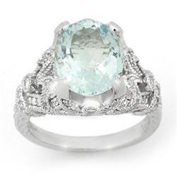 6.10 ctw Aquamarine & Diamond Ring 14k White Gold - REF-148M5G