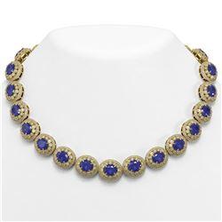 111.75 ctw Sapphire & Diamond Victorian Necklace 14K Yellow Gold - REF-2935Y8X