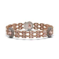 30.62 ctw Morganite & Diamond Bracelet 14K Rose Gold - REF-392W5H