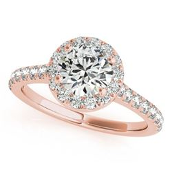 1.7 ctw Certified VS/SI Diamond Halo Ring 18k Rose Gold - REF-389A6N