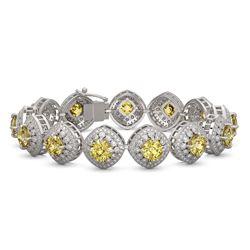 28.35 ctw Canary Citrine & Diamond Victorian Bracelet 14K White Gold - REF-805F5M