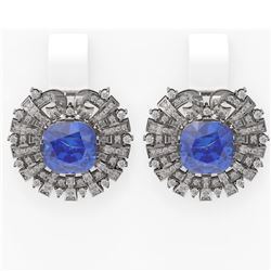 13.05 ctw Tanzanite & Diamond Earrings 18K White Gold - REF-618W2H