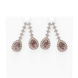 13.05 ctw Morganite & Diamond Earrings 18K Rose Gold - REF-581H8R