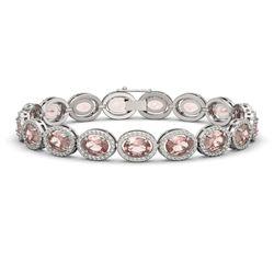 20.18 ctw Morganite & Diamond Micro Pave Halo Bracelet 10k White Gold - REF-377F3M