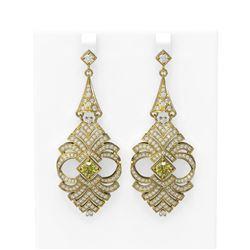 6.56 ctw Fancy Yellow Diamond Earrings 18K Yellow Gold - REF-718G2W