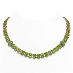 58.69 ctw Peridot & Diamond Necklace 14K Rose Gold - REF-581R8K