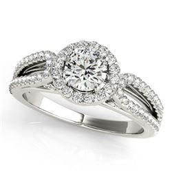 1.15 ctw Certified VS/SI Diamond Halo Ring 18k White Gold - REF-153K5Y