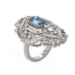 5.96 ctw Aquamarine & Diamond Ring 18K White Gold - REF-323A6N