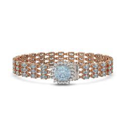 23.78 ctw Aquamarine & Diamond Bracelet 14K Rose Gold - REF-306H9R