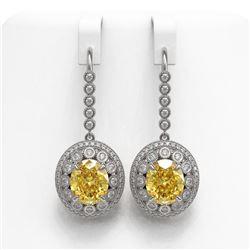 15.44 ctw Canary Citrine & Diamond Victorian Earrings 14K White Gold - REF-306G2W