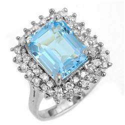 5.10 ctw Blue Topaz & Diamond Ring 18k White Gold - REF-123Y6X