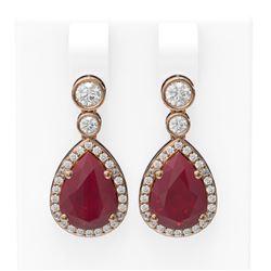 3.1 ctw Ruby & Diamond Earrings 18K Rose Gold - REF-134K2Y