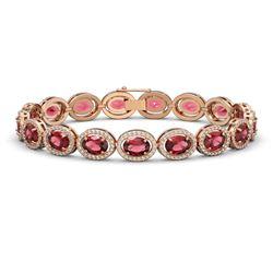 21.71 ctw Tourmaline & Diamond Micro Pave Halo Bracelet 10k Rose Gold - REF-338M9G