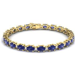 19.7 ctw Tanzanite & VS/SI Diamond Eternity Bracelet 10k Yellow Gold - REF-178W2H