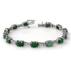 11.04 ctw Emerald & Diamond Bracelet 14k White Gold - REF-135K6Y