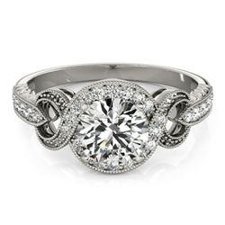 1.33 ctw Certified VS/SI Diamond Halo Ring 18k White Gold - REF-281G2W