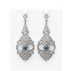 6.56 ctw Intense Blue Diamond Earrings 18K White Gold - REF-635X3A
