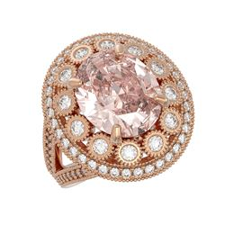 7.06 ctw Certified Morganite & Diamond Victorian Ring 14K Rose Gold - REF-304A4N