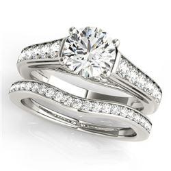 1.45 ctw Certified VS/SI Diamond 2pc Wedding Set 14k White Gold - REF-174H5R