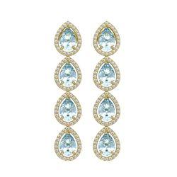 7.41 ctw Aquamarine & Diamond Micro Pave Halo Earrings 10k Yellow Gold - REF-169A6N