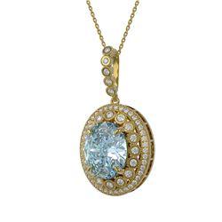16.72 ctw Sky Topaz & Diamond Victorian Necklace 14K Yellow Gold - REF-221F3M