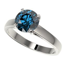 2 ctw Certified Intense Blue Diamond Engagment Ring 10k White Gold - REF-331H4R
