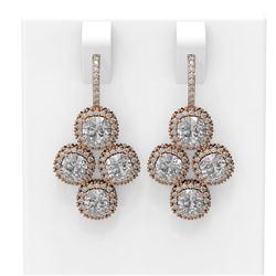 4.43 ctw Cushion Diamond Earrings 18K Rose Gold - REF-573M5G