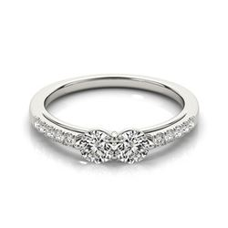 0.85 ctw VS/SI Diamond 2 Stone 2 Stone Ring 18k White Gold - REF-83H2R