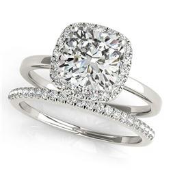 1.1 ctw Certified VS/SI Cushion Diamond 2pc Set Halo 14k White Gold - REF-171M8G