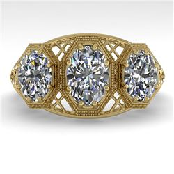 2 ctw Past Present Future Oval Cut Diamond Ring Art Deco 18k Yellow Gold - REF-421H8R