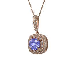 7.19 ctw Tanzanite & Diamond Victorian Necklace 14K Rose Gold - REF-290Y9X