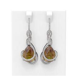 20.51 ctw Canary Citrine & Diamond Earrings 18K White Gold - REF-309Y3X