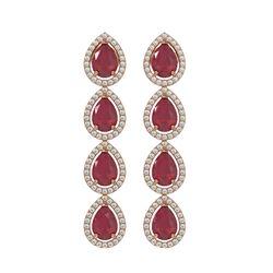10.2 ctw Ruby & Diamond Micro Pave Halo Earrings 10k Rose Gold - REF-155K5Y