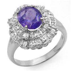 2.70 ctw Tanzanite & Diamond Ring 18k White Gold - REF-100G2W
