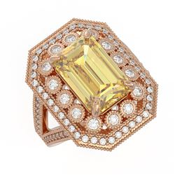 5.85 ctw Canary Citrine & Diamond Victorian Ring 14K Rose Gold - REF-145A6N