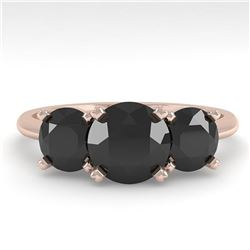 2 ctw Black Diamond Past Present Future Designer Ring 18k Rose Gold - REF-67R5K