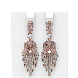 9.46 ctw Morganite & Diamond Earrings 18K Rose Gold - REF-509X3A