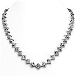 19.27 ctw Princess Cut Diamond Micro Pave Necklace 18K White Gold - REF-1598G3W