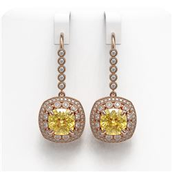 14.4 ctw Canary Citrine & Diamond Victorian Earrings 14K Rose Gold - REF-239X5A