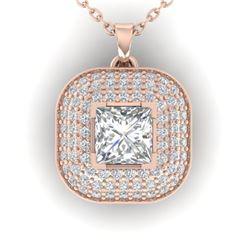 1.60 ctw Princess VS/SI Diamond Art Deco Micro Necklace 14k Rose Gold - REF-374Y8X