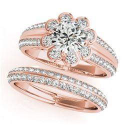 1.86 ctw Certified VS/SI Diamond 2pc Wedding Set Halo 14k Rose Gold - REF-313W8H