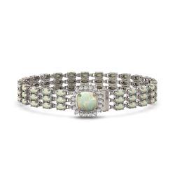 24.2 ctw Opal & Diamond Bracelet 14K White Gold - REF-342Y9X