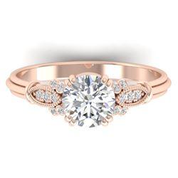 1.15 ctw Certified VS/SI Diamond Art Deco Ring 14k Rose Gold - REF-298F8M